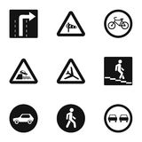 Sign on road icons set, simple style Royalty Free Stock Photos