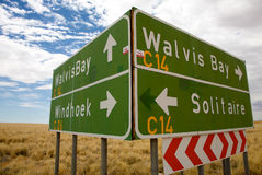 Sign Road in Namibia Royalty Free Stock Photo