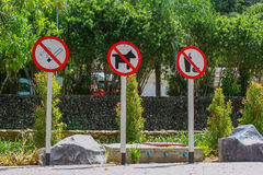 Sign on Road. No Food and Drink  No Smoking and animal ban Royalty Free Stock Image