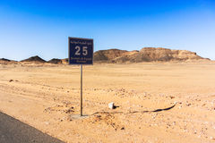 Sign on the road, Sahara desert south of Egypt. Sign on the road to Wadi Halfa, showing the number of kilometers to the border with Sudan Royalty Free Stock Images