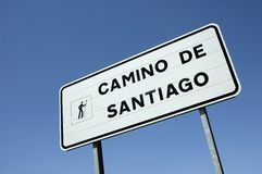 Sign at the road to the Santiago of Compostela Royalty Free Stock Photography