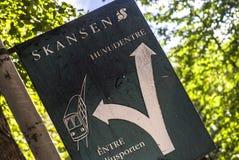 Sign: road to Skansen... Royalty Free Stock Photos
