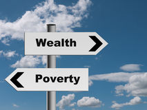 Sign on road to wealth and poverty - economics metaphor. You choose which way to go Stock Images
