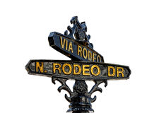 Sign of Rodeo Drive in Beverly Hills, Los Angeles. Picture isolated on white background stock photos