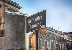 Sign for the Roman Amphitheater Royalty Free Stock Image