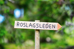 Sign for Roslagsleden trecking path Royalty Free Stock Images