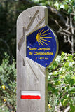 Sign for route to Compostela through France Stock Photo