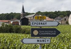 Sign of Route Touristique de Champagne. Epernay, France - June 11, 2017: Sign of the Route Touristique du Champagne with in the background vineyards of the Stock Photography
