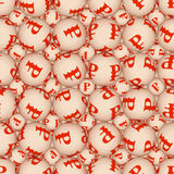Sign ruble, seamless  texture. Spheres with a symbol of ruble form seamless texture Royalty Free Stock Image