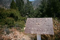 Sign Atop Echo Mountain on Pacific Crest Trail royalty free stock photos