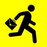 Sign running man. On a yellow background Stock Photos