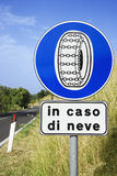 Sign on Rural Road in Italy Royalty Free Stock Photo