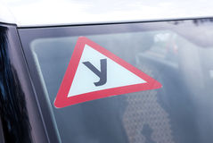Sign of a Russian Driving School on the vehicle Stock Image