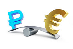 Sign of the russian ruble in the balance with euro sign. On a white background Stock Image