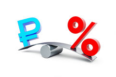 Sign of russian ruble interest Royalty Free Stock Image