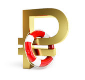 Sign of russian ruble lifebuoy on a white background. Collapse of the ruble, the collapse of the economy Stock Photography