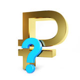 Sign of the russian ruble under a question mark. Collapse of the ruble, the collapse of the economy sign of the russian ruble under a question mark on a white Royalty Free Stock Photography