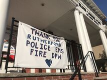 Thank You Sign, Police, EMS, Fire, DPW, Essential Workers, Coronavirus, COVID-19, Rutherford, NJ, USA