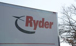 Sign on a Ryder Rental Truck Stock Photo