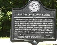 Sign About 1840s Georgia Covered Bridge stock photo