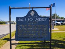 Sign Sac and Fox Agency Oklahoma at Route66 - STROUD - OKLAHOMA - OCTOBER 16, 2017 Stock Photography