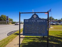 Sign Sac and Fox Agency Oklahoma at Route66 - STROUD - OKLAHOMA - OCTOBER 16, 2017. Photography Royalty Free Stock Photography