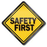 Sign safety first. At work Royalty Free Stock Photography