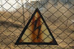 Warning sign of safety HIGH VOLTAGE stock photography