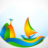 Sign sailing boat with symbol in colors of the Brazilian flag Royalty Free Stock Photo