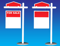 Sign for sale. Two Red Sign For Sale Royalty Free Illustration