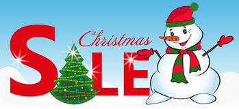 Sign sale with Christmas tree and Snowman on blue background. Vector Stock Photos