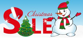 Sign sale with Christmas tree and Snowman on blue background. Vector Stock Photography