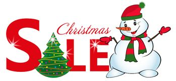 Sign sale with Christmas tree and Snowman isolated on white background. Vector. Illustration Royalty Free Stock Images