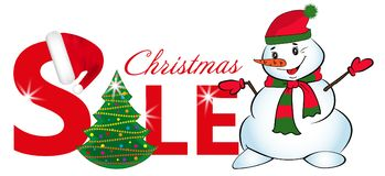 Sign sale with Christmas tree and Snowman onisolated on white background. Vector. Sign sale with Christmas tree and Snowman isolated on white background. Vector Stock Photography