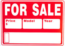 "Sign ""For Sale"" with Extra Fields. On plastic board; close up royalty free stock images"
