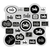 Sign sale icons set, hand drawn text, vector. Illustration Stock Photo