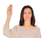 Woman makes hand  sign salute Stock Photography