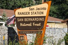 Sign for the San Bernardino National Forest San Jacinto Ranger Station on a sunny day royalty free stock photo