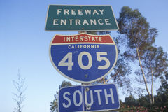 A sign for the 405 San Diego freeway entrance Royalty Free Stock Photo