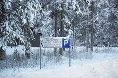 Sign of Santa Claus village in Rovaniemi that is in Lapland in F Stock Image