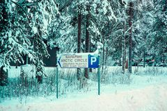 Sign of Santa Claus village in Rovaniemi that is in Lapland in Finland on the Arctic pole circle. Sign of Santa Claus village in Rovaniemi that is in Lapland stock photos