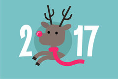 2017 sign. Santa`s reindeer wearing scarf. Flat editable vector illustration, clip art Stock Photo