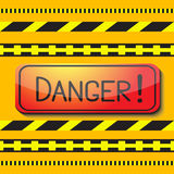 Sign saying danger and danger tape. Stock Images
