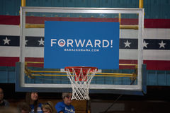 Sign says. Forward! at President Obama campaign rally at Orr Middle School in Las Vegas, October 26, 2012 Royalty Free Stock Photos