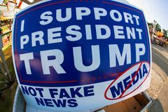 Sign Says I Support President Trump Not Fake News Media. Lawrenceville, GA, USA - September 22, 2017: A sign reading `I support President Trump, not fake news stock photos