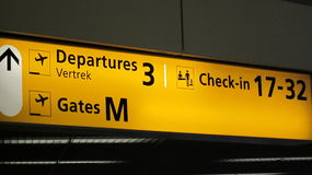 Sign at Schiphol Airport Stock Image
