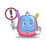 With sign school bag character cartoon Stock Images