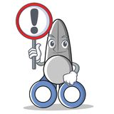 With sign scissor character cartoon style vector illustration