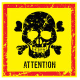 Sign with Scull Attention and Warning Vector Image Royalty Free Stock Photo