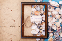 Sign sea adventure with shells and photo frame. Vocation background Royalty Free Stock Images